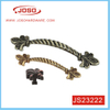 Retro Style Flower Pattern Antique Brass Pull Handle for Cabinet